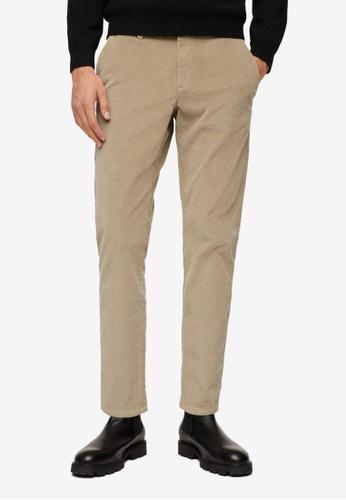 MANGO Man beige Tapered Fit Crop Corduroy Trousers 3FC63AA83A9B82GS_1