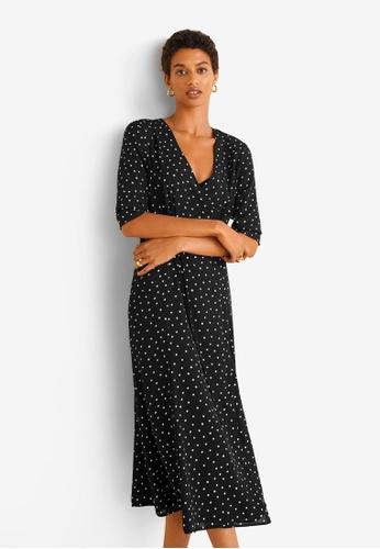Mango black Wrap Polka Dot Dress 31C97AAEC3E49FGS_1