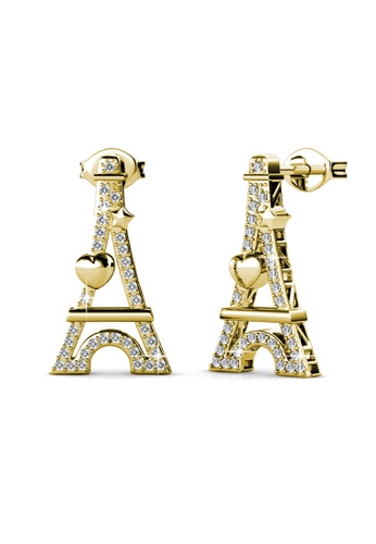Her Jewellery yellow Paris Love Earrings (Yellow Gold) - Made with premium grade crystals from Austria HE210AC0FSTFSG_1