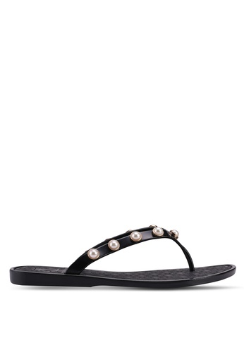 Carlton London black Pearl Embellished Slippers E8194SH9C93B2CGS_1