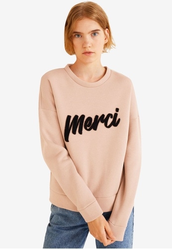 Mango beige Message Textured Sweatshirt 0C913AA9403E08GS_1