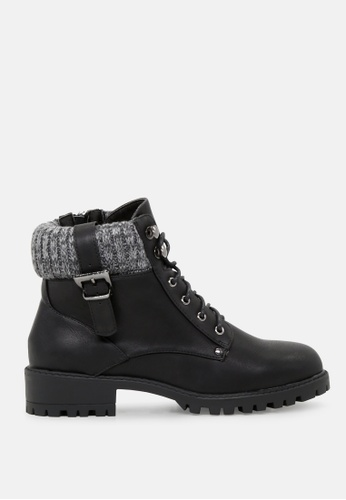 London Rag black Lace up Ankle Boots with Wool Collar SH1720 FADA0SHFD35A9DGS_1