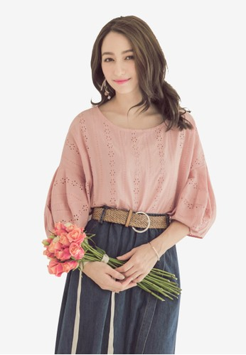 Yoco pink Lace Puff Sleeve Top F94D1AA79103A9GS_1