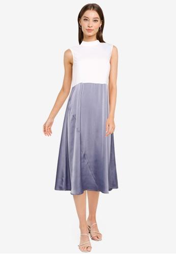 ZALORA WORK multi Contrast Fabric Midi Dress DFFABAA9AA70ACGS_1