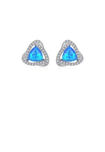 Glamorousky white 925 Sterling Silver Fashion Elegant Geometric Triangle Dark Blue Imitation Opal Stud Earrings with Cubic Zirconia 69C3EAC56B3036GS_1