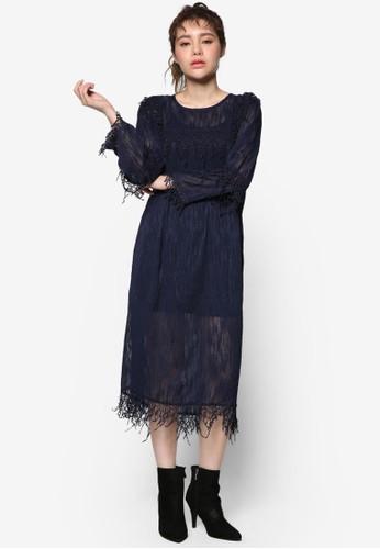 韓系時尚蕾絲esprit高雄門市長袖連身裙, 服飾, 洋裝