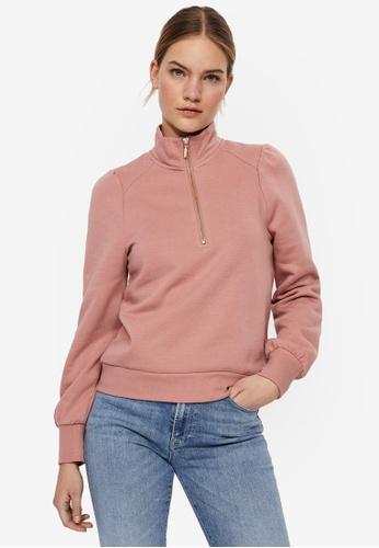 Vero Moda pink Lydia Zipper Sweatshirt 765E2AA9560766GS_1
