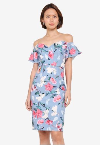 Paper Dolls blue Pretty Floral Fluted Bardot Dress F7C74AAE9EEF1CGS_1