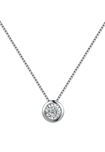 Buy mabelle 18k white gold classic simple single diamond pendant mabelle silver 18k white gold classic simple single diamond pendant with sterling silver chain 16 aloadofball Image collections