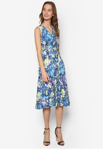 V 領印花連身裙, 服飾, zalora鞋子評價洋裝