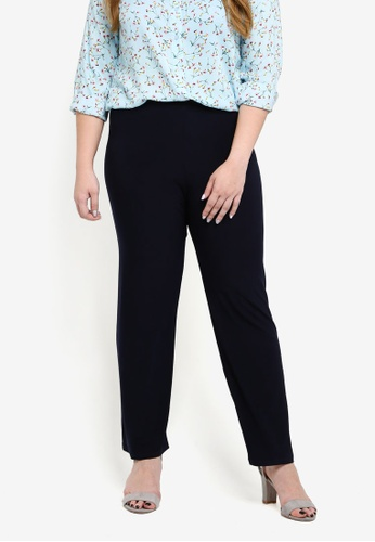 Ex'otico navy Plus Size Knitted Long Pants 0E5AAAA4880861GS_1