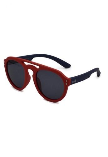 jojo red Retro Aviator Polarized Sunglasses E6736KC57E90C1GS_1