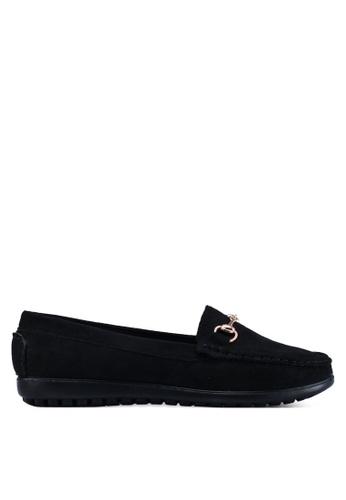 Louis Cuppers 黑色 麂皮金屬飾樂福鞋 206E3SH8EB65E5GS_1
