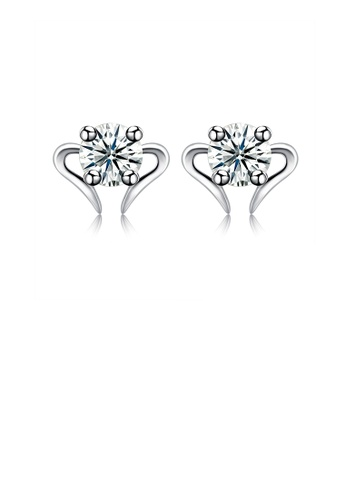 Glamorousky white 925 Sterling Silver Simple Mini Elegant Ear Studs and Earrings with Cubic Zircon AD017AC6CDA085GS_1
