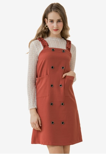 Eyescream red Double Breasted Pinafore Dress 5C1F5AA37FE78FGS_1