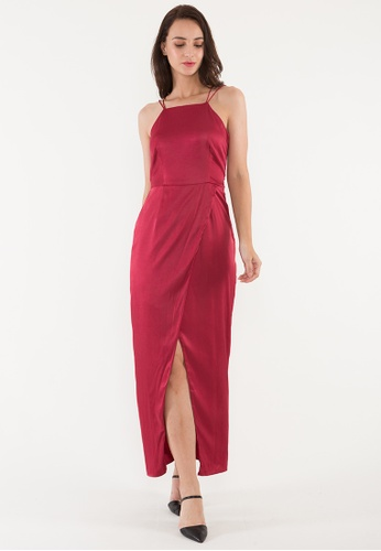 BEBEBEIGE red BebeBeige Sqaure-Neck Slim Fit Satin Evening Long Dinner Dress F3071AA1C1B2DFGS_1