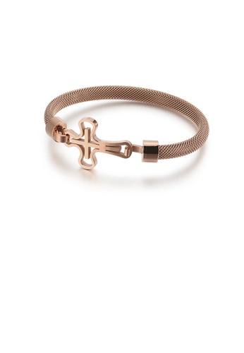 Glamorousky 銀色 時尚優雅鍍玫瑰金十字架316L鋼手鐲 A3C35AC30F6060GS_1