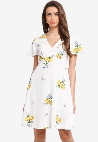 Dorothy Perkins white Floral Tea Dress 926D6AA1717A73GS_1