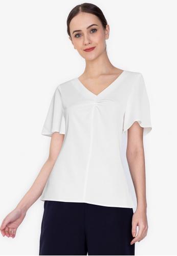 ZALORA WORK white Flare Sleeves Top 7608BAA7749356GS_1