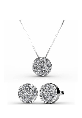 Her Jewellery silver Round Set (White Gold) with Premium Grade Crystals from Austria F600EAC09D447FGS_1