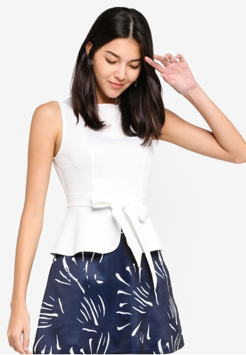 ZALORA grey and multi Peplum Fit And Flare Dress 0A2E8AAE670E57GS_1