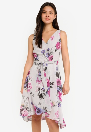 Dorothy Perkins grey Grey Floral Midi Dress 7812FAAB48E467GS_1