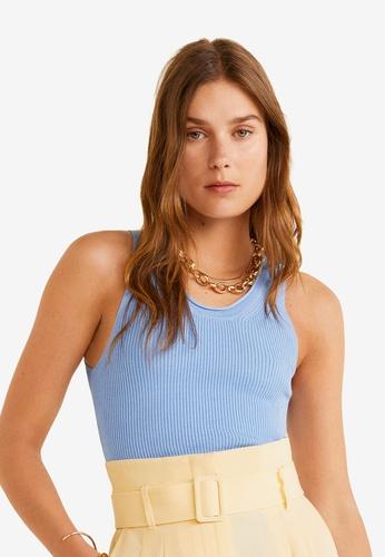 Mango 藍色 Ribbed Knit Top 905E8AA0AC8B48GS_1