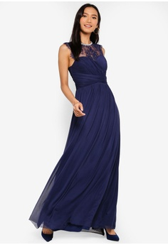 c7264ec1a3 Lipsy navy Navy Elsa Mesh Lace Insert Maxi Dress 70551AA84D1544GS 1