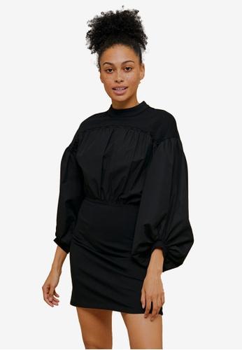 TOPSHOP black Black Poplin Mix Drama Sleeve Dress CF971AA2763EAFGS_1