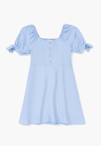 FOREVER 21 blue Puff-Sleeve Dress 1E1B8KA176F60AGS_1