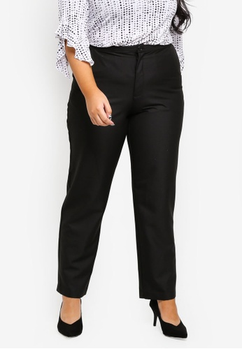 Ex'otico black Plus Size Basic Trouser With Stretch F7DC3AA4EFEFC9GS_1
