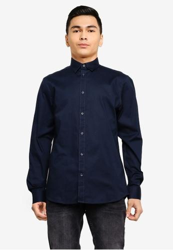 !Solid navy Tyler Basic Long Sleeve Shirt E2214AA0B8A929GS_1