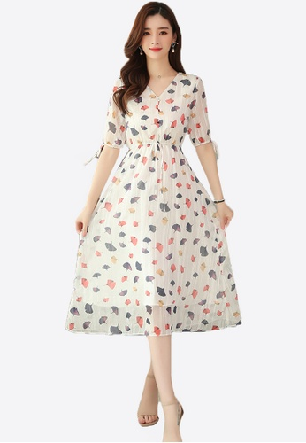 Halo white Floral Printed Chiffon Dress 9D7D8AA763C64AGS_1
