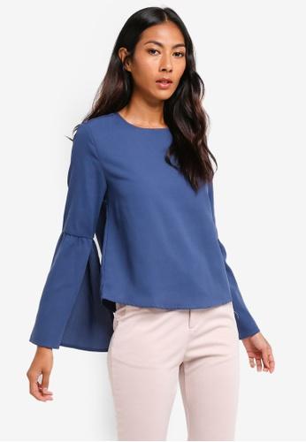 ZALORA BASICS blue Basic Split Sleeves Blouse DC388AA0CA2482GS_1