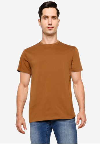 UniqTee brown Essential Crew Neck T-Shirt B6A0AAAFAB22CAGS_1