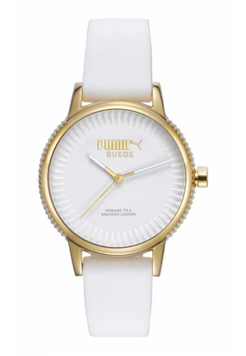 Puma white PU104252001 Suede Gold White Women Watch PU549AC0RKKWMY_1