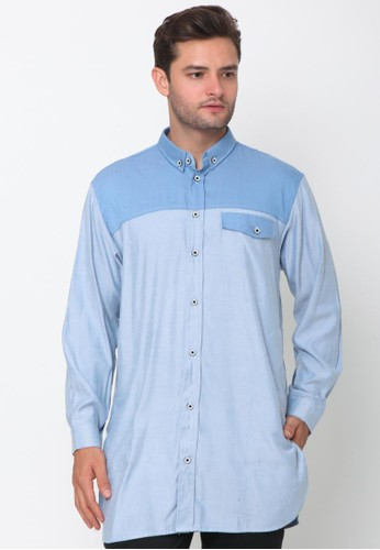 ZAYIDAN blue Zayidan Baju Koko Pria Muslim Daffa - Biru Muda E4DC6AA567A8EEGS_1
