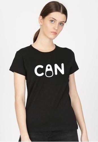 Greatvalueplus black Can Women's Round Neck Statement T-shirt E957EAAE648C20GS_1