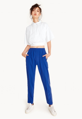 Pomelo white Gertie Cropped Tie Shirt - White D69FEAA69565C6GS_1