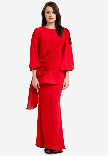 Zuco Fashion red Chiffon Midi Kurung ZU882AA0RUJNMY_1