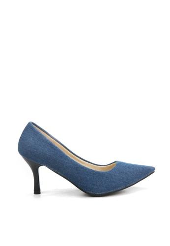 KissXXX blue Dark Denim Blue Pointed High Heel Pumps KI688SH2VIXAHK_1