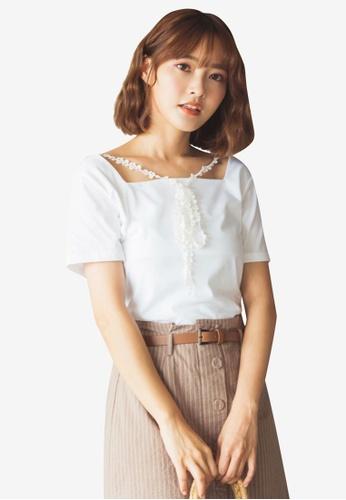 Tokichoi white Square Neck Blouse with Lace Tie 74EA2AA27E0881GS_1