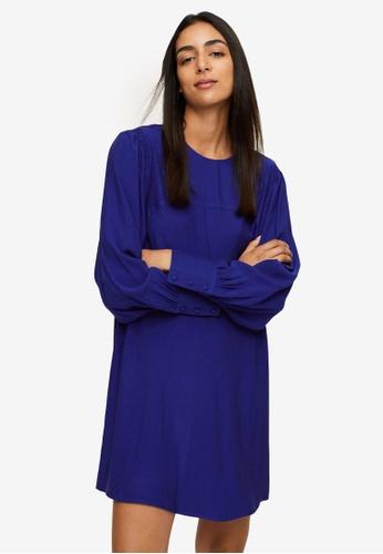 Mango blue Puffed Sleeves Dress 25B87AA02171ECGS_1