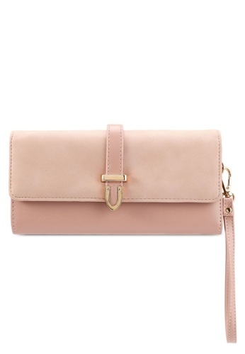 Unisa pink Duo-Texture Tri-Fold Ladies Wallet With Strap 600EBAC592088EGS_1