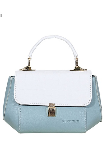 Verchini blue Verchini Stone-Embellished Geometric Bag 9E136AC9F57AFFGS_1
