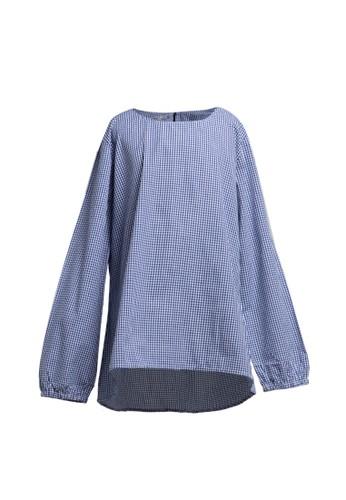 Little Heart white and blue Checker Blouse 06B2BKA2709E33GS_1