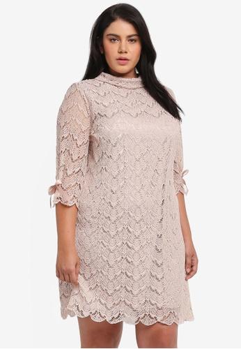 ELVI beige Plus Size 3/4 Sleeve Lace Dress EL779AA0T1OXMY_1