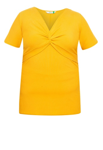 Curvy yellow Plus Size Twist Front Ribbed Top 86A36AA90BBAD6GS_1