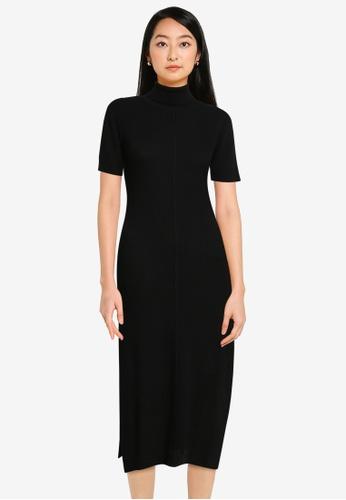 ZALORA BASICS black Turtle Neck Knit Dress With Side Slits 8EAFAAA1CC5983GS_1