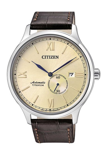CITIZEN brown Citizen Beige, Silver and Brown Leather Watch 2E883AC6C50948GS_1